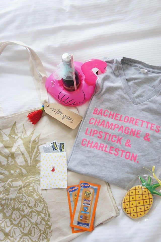 Bachelorette party welcome bag idea - destination bachelorette party favor {Courtesy of Gin & Jewels}