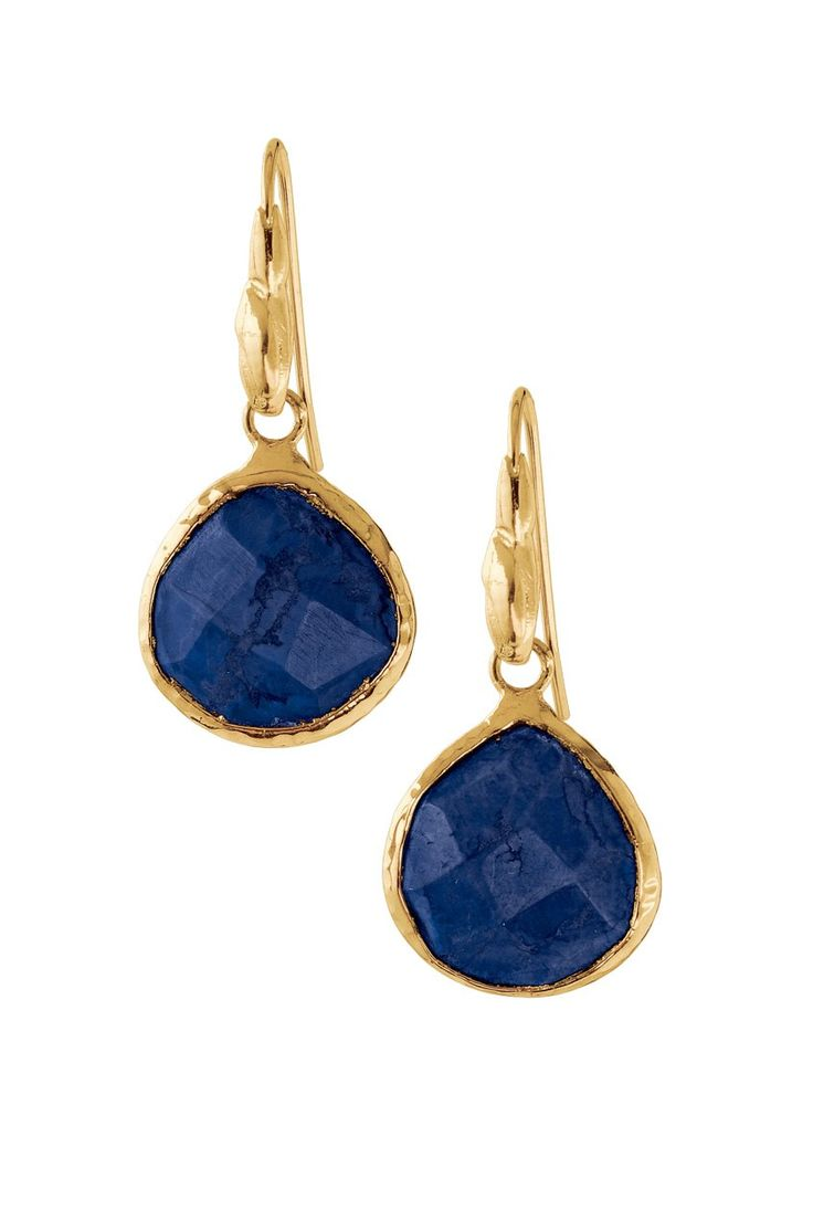 Loving the Lapis  Hand cut polished semi-precious dyed jade drops are handset in a shiny 12k gold plated hammered brass bezel.