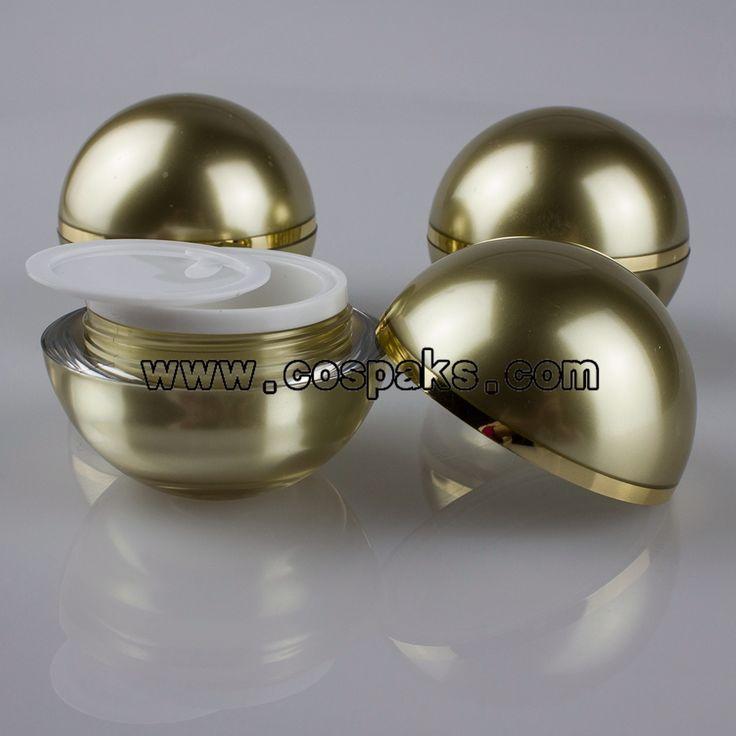 50 unids 15 g de acrílico de envases cosméticos fabricante, 15 g oro tarros cosméticos proveedores, 15 g bola empaquetado cosmético venta al por mayor(China (Mainland))