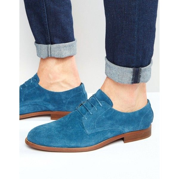 ASOS Derby Shoes In Relaxed Blue Suede ($36) ❤ liked on Polyvore featuring men's fashion, men's shoes, men's dress shoes, blue, mens blue suede shoes, mens suede dress shoes, mens derby shoes, mens lace up shoes and mens blue dress shoes