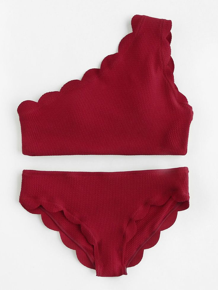 Shop Scalloped Trim One Shoulder Bikini Set online. SheIn offers Scalloped Trim One Shoulder Bikini Set & more to fit your fashionable needs.