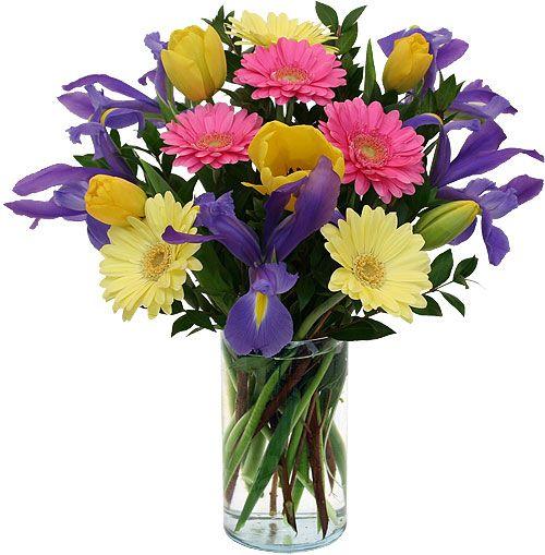 Alegres tonos destacan este bello florero.