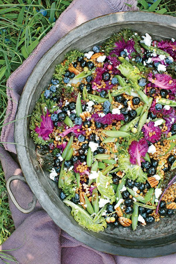 Trust us—you're going to want to try this crunchy, sweet, and salty combo. Any variety of kale will do, and feel free to sub cooked farro, wild rice, or quinoa for the wheat berries.    Recipe:Blueberry-and-Kale Grain Salad