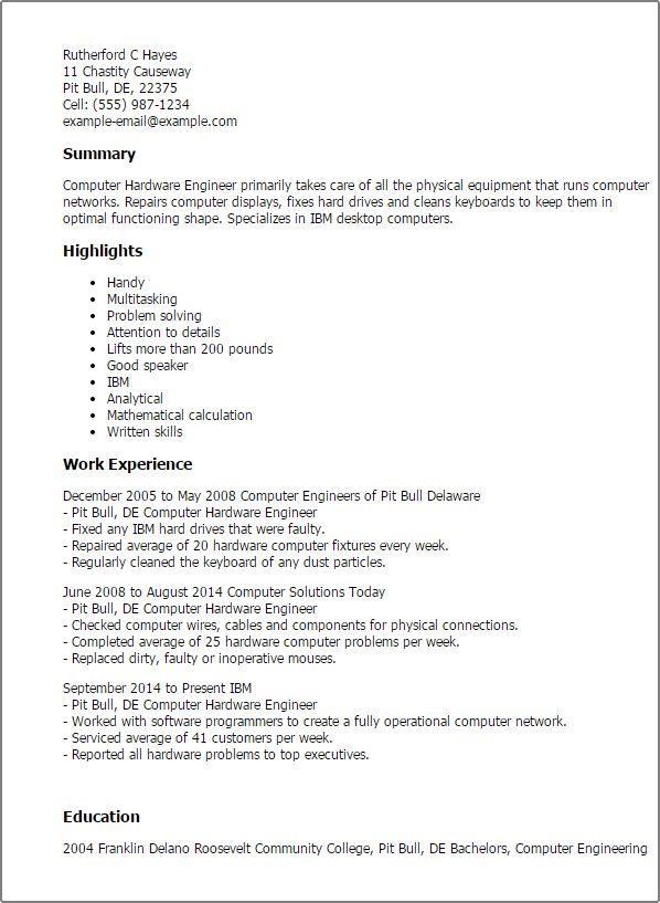 hardware engineer resume sample professional computer hardware engineer templates to showcase