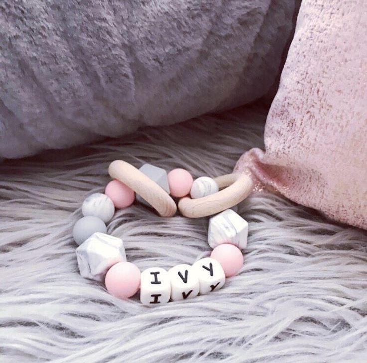 #teether #teethingring #teethingbaby #teething #teethingsucks #woodenrattle #personalisedgift #siliconeteething #giftfornewbaby