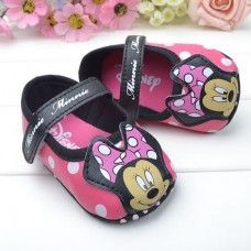 Minnie Mouse Black & Pink Polka Shoes $12.95 + Postage!  3-6, 6-12 & 12-18 Months