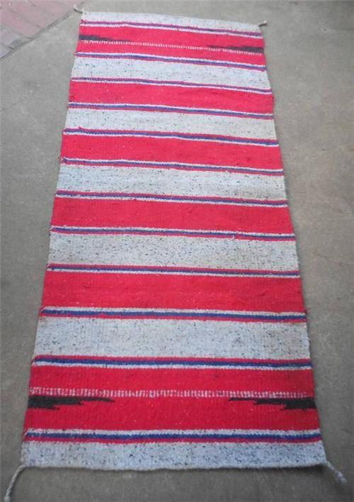 Navajo Banded Wool Rug- Vintage Navajo Rug/ Double Saddle Blanket by VintagePerformance on Etsy