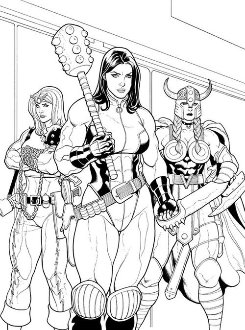 Red She Hulk and the ladies by Frank Cho