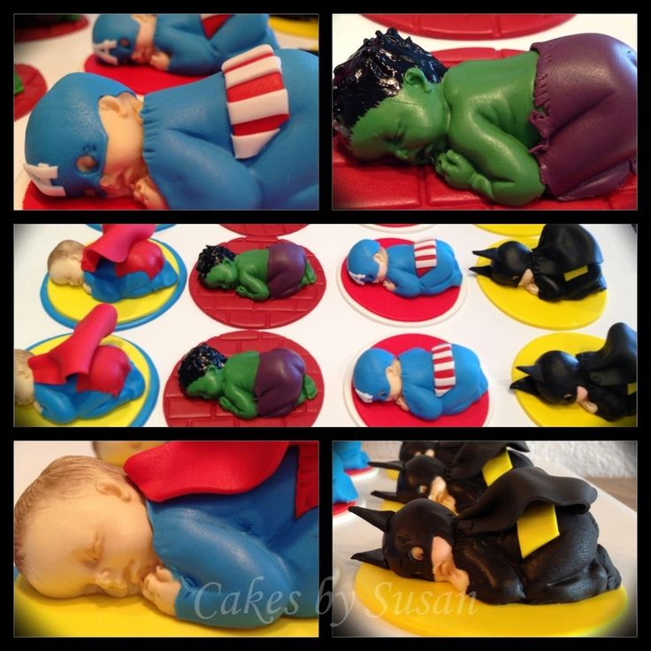 - Avenger babies cupcake toppers   I flipping love this. Unique idea for the baby mold.