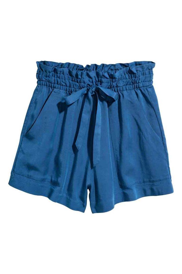 Pantaloni scurți de lyocell - Albastru-închis - FEMEI | H&M RO
