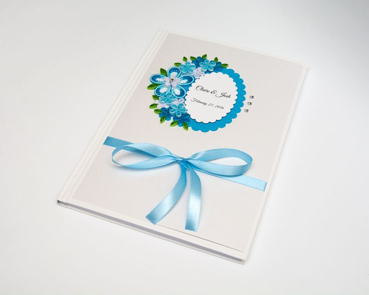 Unusual Beautiful Handmade Wedding Guest Book Blue Quilling Flowers Personalized Custom Wedding Sign In Book Keepsake Elegant Modern Wedding Book Etsy by PaperParadisePL