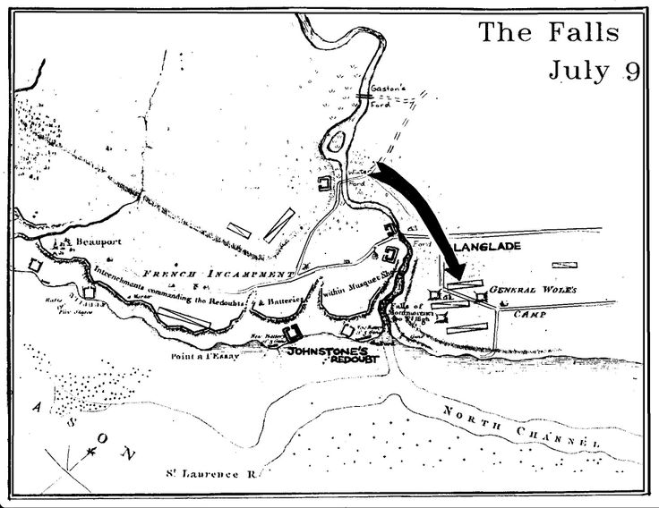 Chapter 5 - The Falls:-   A map to show the raid made on Wolfe's Camp by the partisan Charles Langlade and Indian allies loyal to the French.