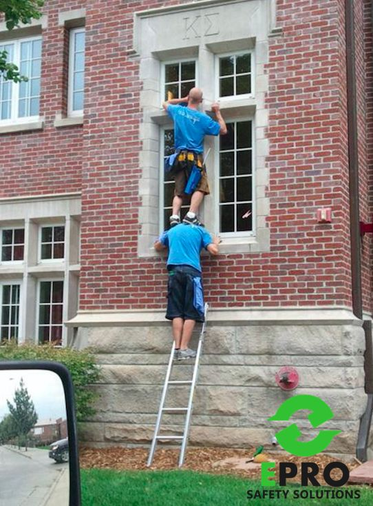 Always use a ladder suitable for the job in hand #ladder #safety #fail