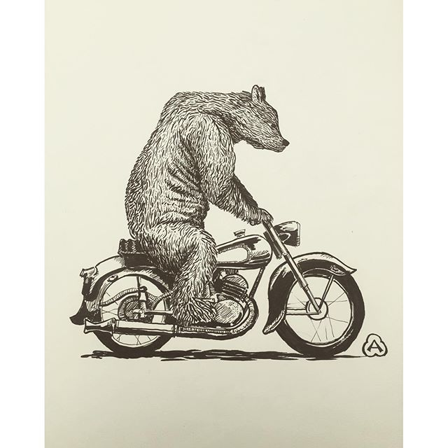 R.B.M.C. Was an acronym coined by @drewwellman66 And @robertmoorex quite a few years ago in Bali where daily you'd see big guys on little bikes. All de facto members of the Russian Bear Motorcycle Club. Today's pen and ink on the dining table with @oscarm
