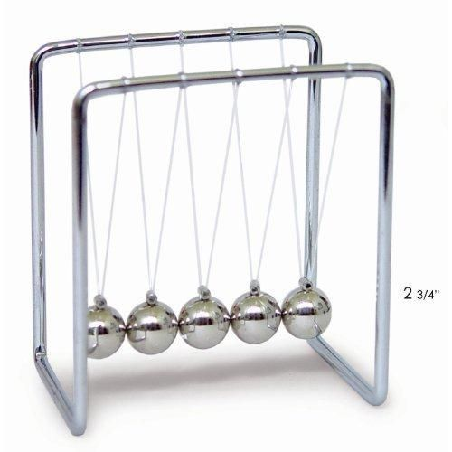 Newton's Cradle with Metal Frame Balls and Wooden Base - 2.75 Inch