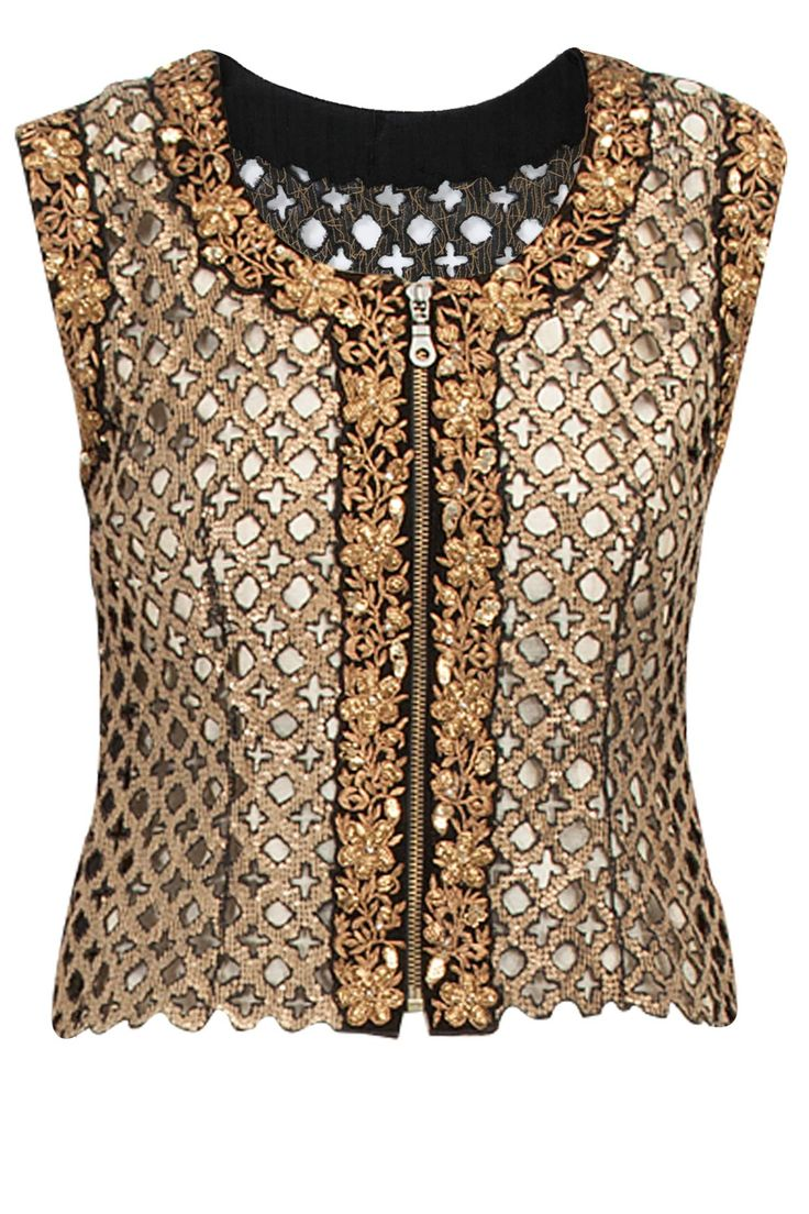Black sequin cutwork waistcoat- i have the gold fabric