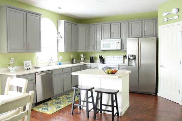 gray cabinet kitchen makeover