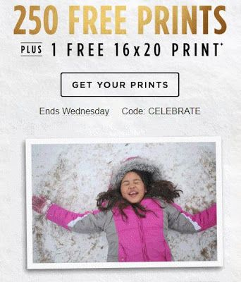 Get 250 free 4x6 or 4x4 prints and a free 16x20 print at Shutterfly