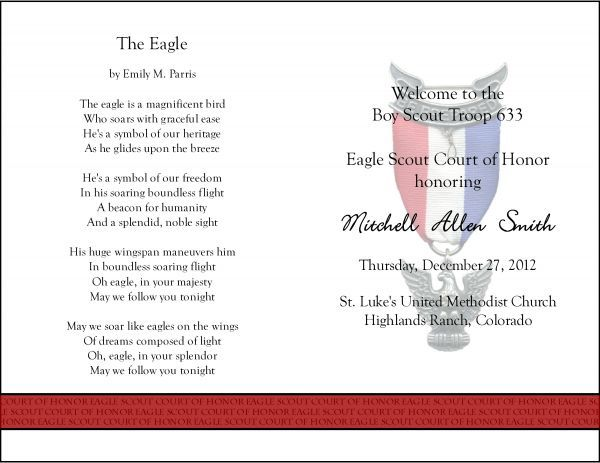 45 best eagle scout ceremony images on pinterest boy for Eagle scout court of honor program template