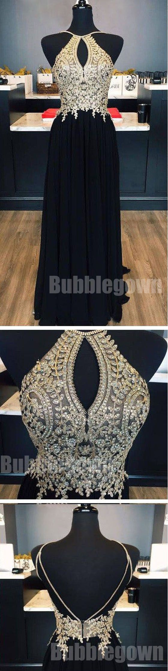 Open Back Beaded Affordable Black Long Evening Prom Dresses, BGP040