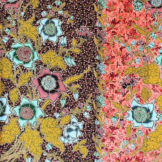 colors of flowers in red and brown print vintage cotton by 18dec, $20.00