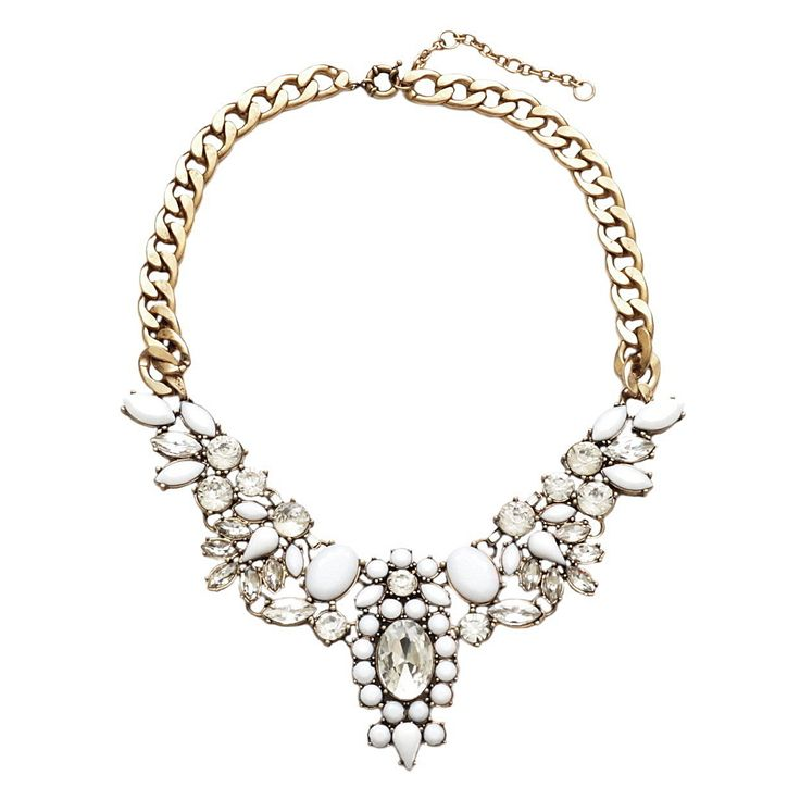 "Glam ""Sophie"" necklace with white & clear stones."