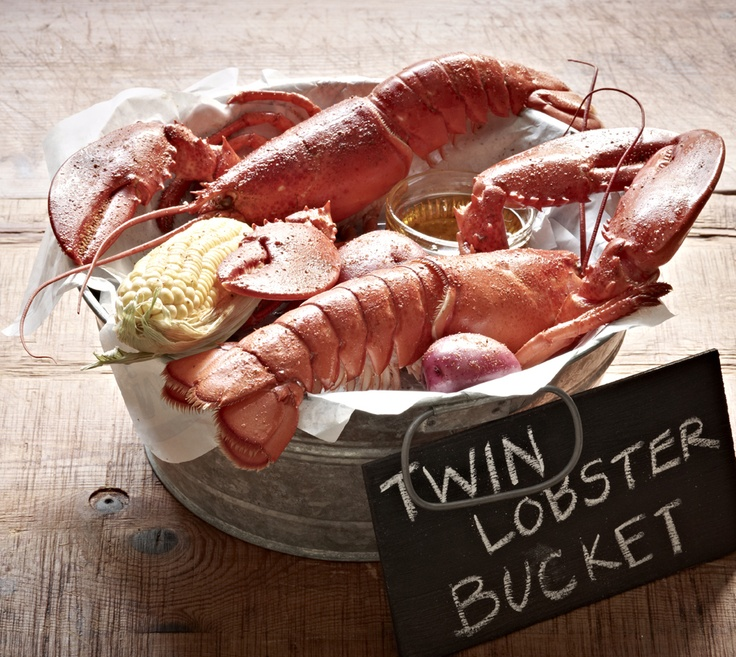 The Maine Event - Twin Lobster Bucket: Two whole split lobsters, corn