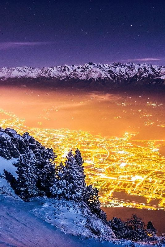 Winter night on Grenoble (Isère)