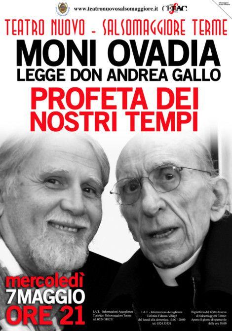 Mercoledì 7 maggio ore 21.00 al Teatro Nuovo di Salsomaggiore TermeMoni Ovadia porterà in scena parole e scritti di Don  Andrea Gallo