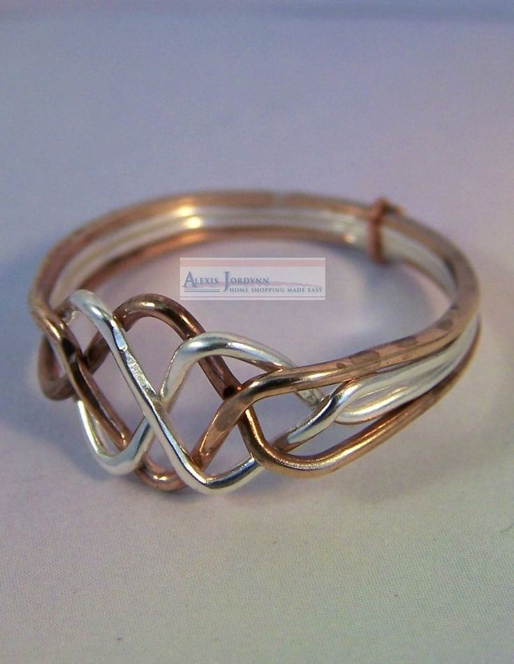Silver & Bronze 4 Band Turkish Interlocking Puzzle Ring - Open Weave Design    #Unbranded #PuzzleRing