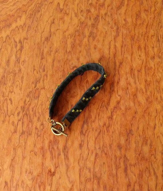 Джинсовый браслет, черный браслет, черные джинсы Upcycled, джинсовые ювелирные изделия, медный браслет черного цвета, джинсы переработанных браслета, Boho ювелирные изделия, ooak W8