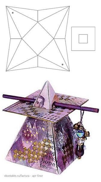 BeautifullyEmbellishedPyramidBox :: Could use Christmas colors, too..