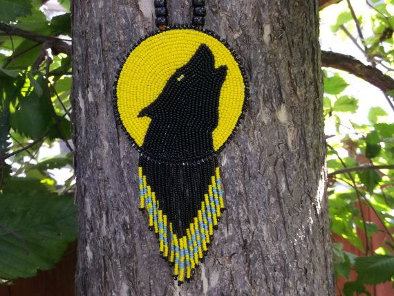 native american wolf necklacepowwow by deancouchie on Etsy, $98.00