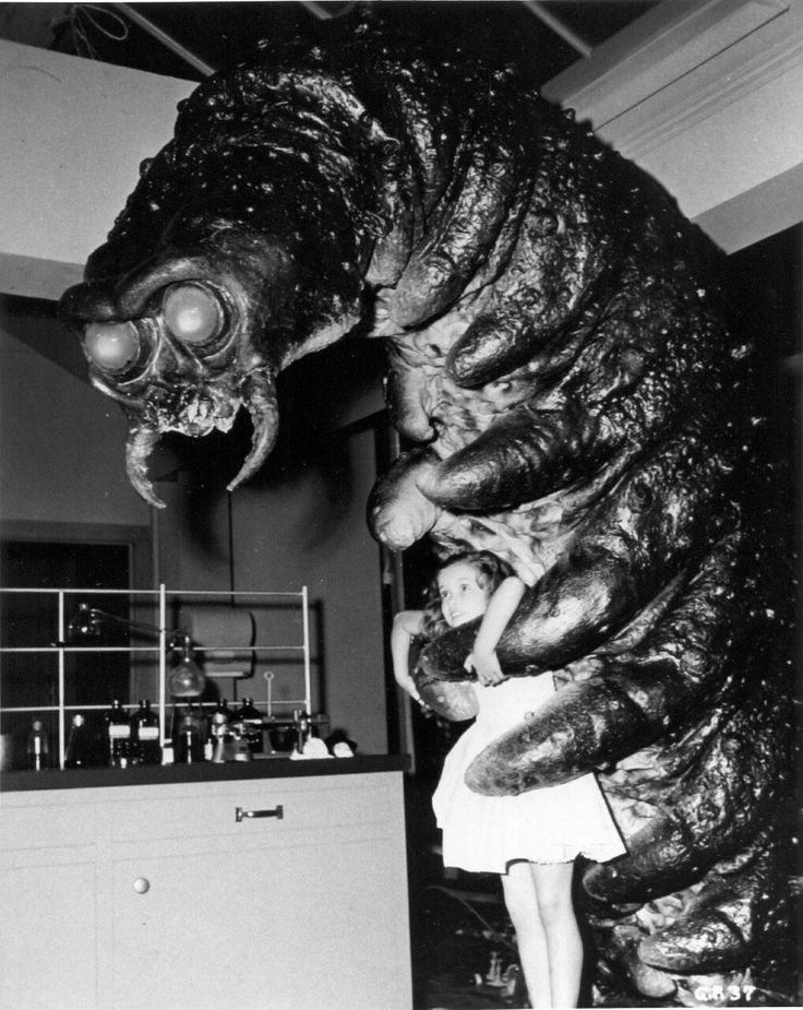 """Behind the scenes of """"The Monster That Challenged the World"""" (1957)."""