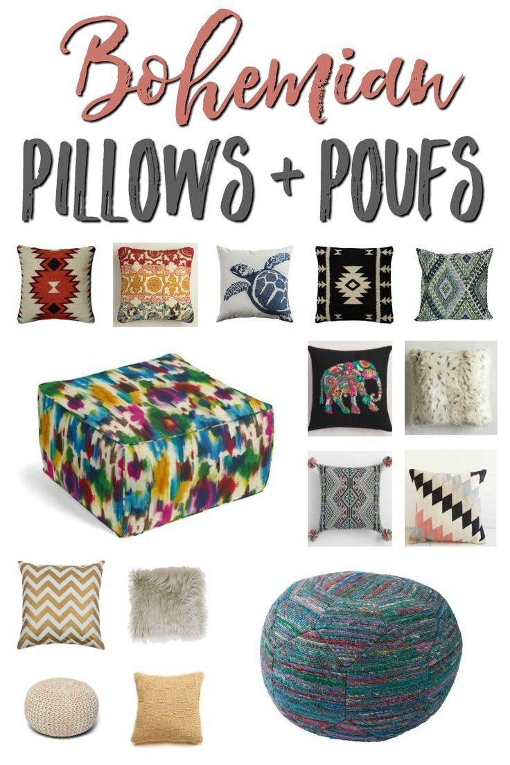 Bohemian Pillows + Poufs
