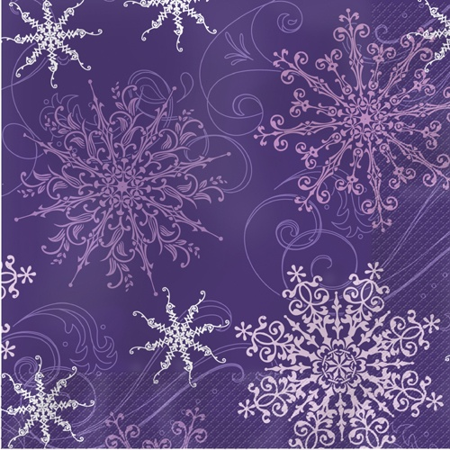 Purple Christmas Paper Luncheon Napkins - Snowflakes