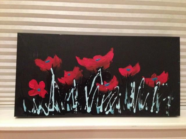 Jeannette's poppy canvas class: Wednesday, March 26th, 2014 at The Paperie! Acrylic paint on deep edge canvas.