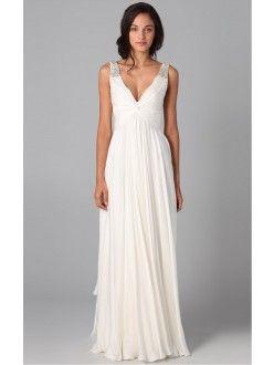 A-line/Princess Floor-length Sleeveless V-neck Chiffon Dress
