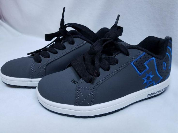 DC Net Suregrip Men's Dark Gray and Blue Leather Skateboard Shoe Sneakers 5M #DC #Skateboarding