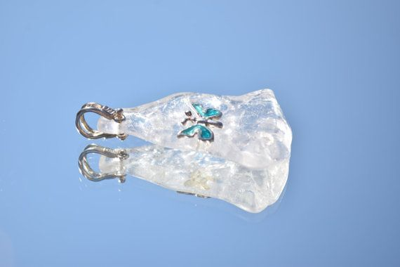 OOAK Quartz with Sterling Silver Blue Butterfly, Giamouras Collections, Christmas Gift, Black Friday Sale, Cyber Monday €42.00