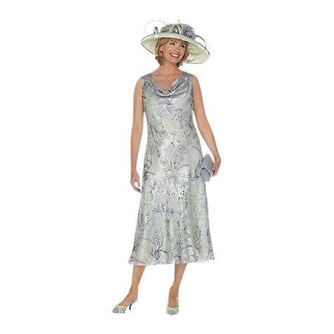 Buy Jacques Vert Crystal Devore Dress, Grey Online at johnlewis.com
