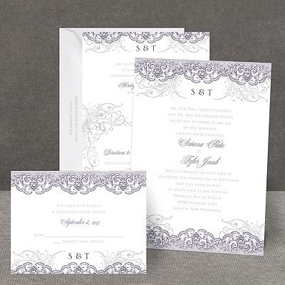lacy flourishes all in one invitation - All In One Wedding Invitations