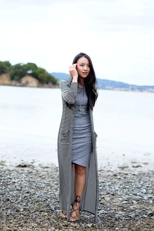 striped maxi cardigan and shift dress