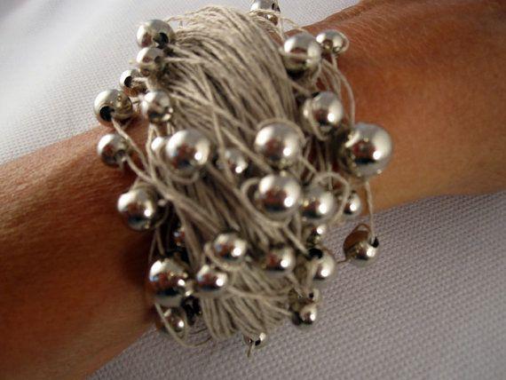 Bracelet Natural Linen Eco Chic Thread Knots Silver Metal Pearls Handmade Mediterranean style