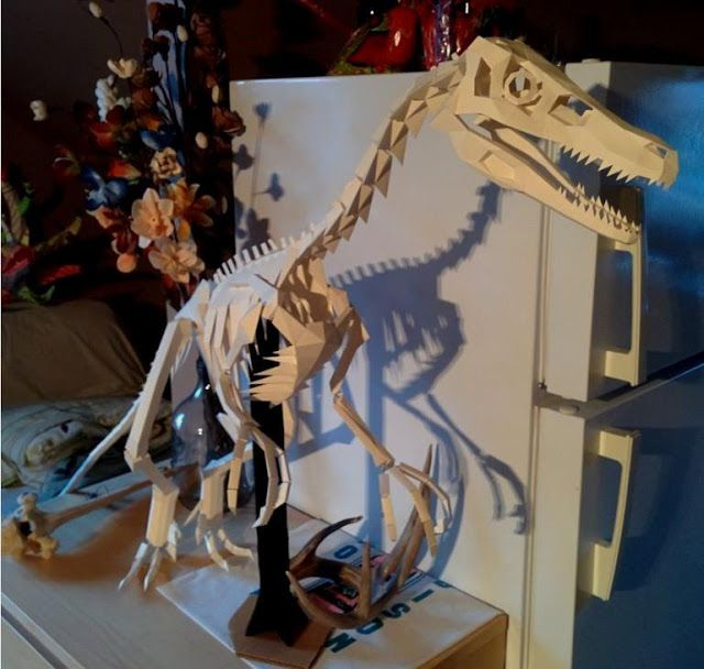 PAPERMAU: The Great Velociraptor Skeleton Papercraft In 1 ...
