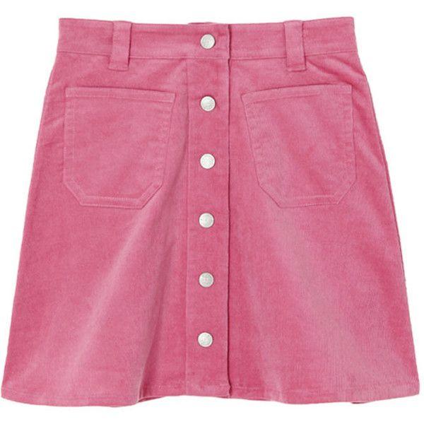 コーデュロイ台形スカート ($48) ❤ liked on Polyvore featuring skirts, bottoms, clothing - skirts and pink skirt