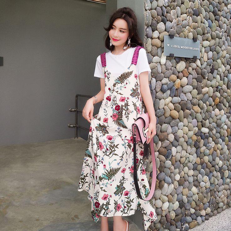 レディースファッション通販夏物 花柄ワンピース/リゾートワンピース Tシャツ 花柄ワンピース2点セット