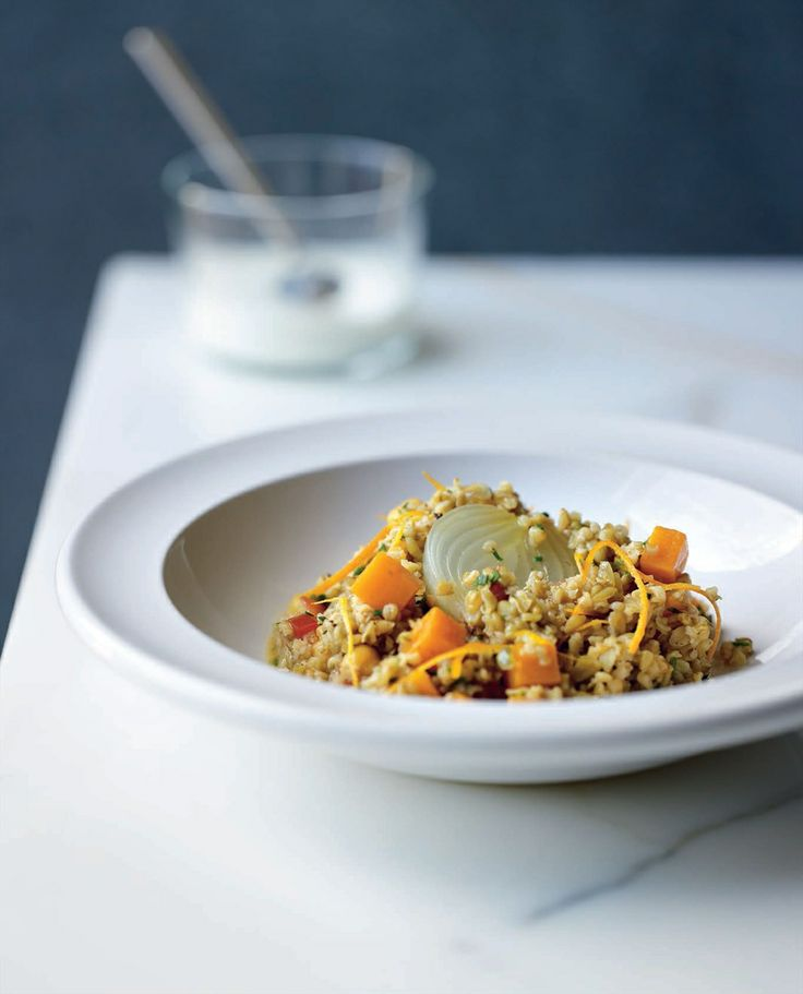 Freekeh with pumpkin, orange zest and pearl onions recipe by Greg Malouf | Cooked