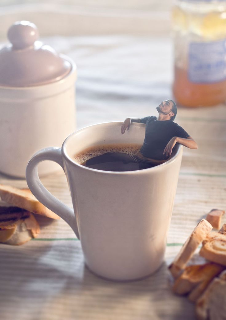 A real coffee lover can almost soak in the stuff!☺--- Photoshop image by Martin Ariel De Pasquale