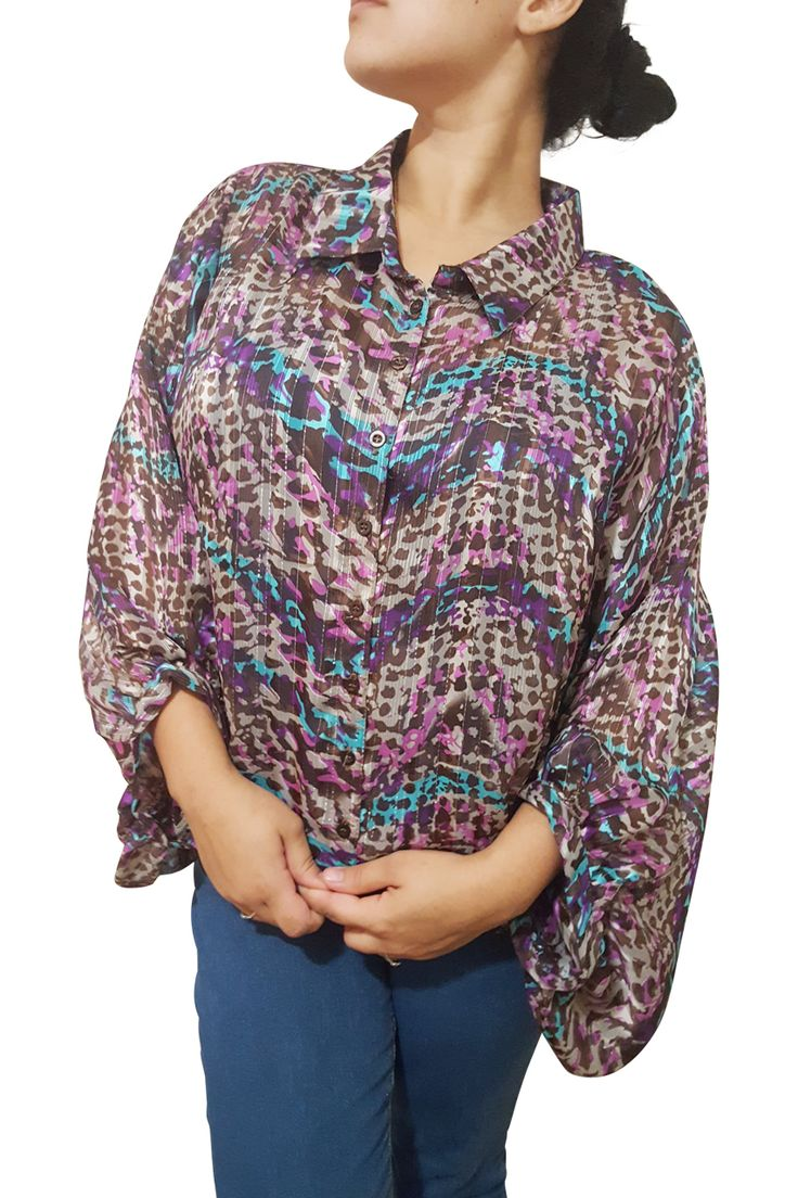 Plus Size Button Down Purple Camo Top! 3/4 Long Sleeves. - 5dollarfashions.com